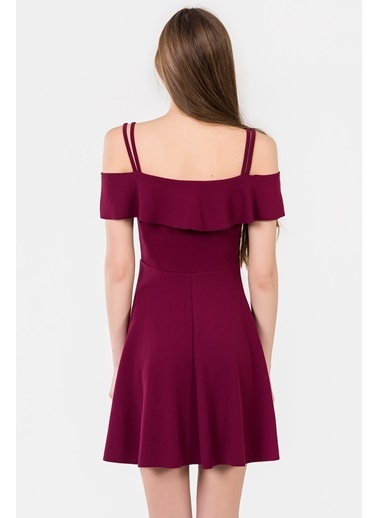 İroni Kayık Yaka Askılı Kloş Elbise Mürdüm